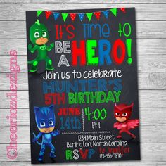 Pj Masks Birthday Invitation Pj Mask Birthday by CheeriozDezigns
