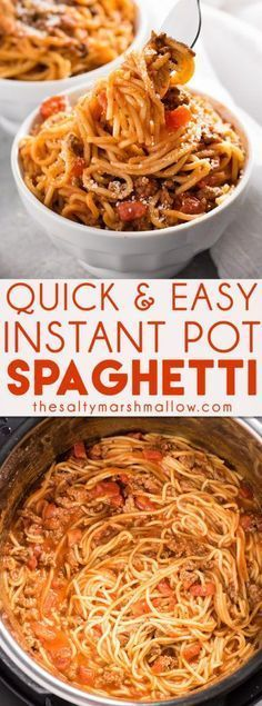 Instant Pot Spaghetti is a great easy weeknight dinner for families! The ground beef, sauce, and noodles are cooked together right in the instant pot pressure cooker for a quick and budget friendly dinner recipe. (beef recipes for dinner awesome) Beef Recipes, Cooking Recipes, Healthy Recipes, Cooking Tips, Cooking Games, Cooking Steak, Family Recipes, Cooking Quotes, Spaghetti