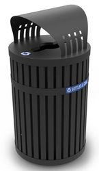 45 Gallon ArchTec 72840199 Parkview 3 Covered Recycling Bin for Outdoor Use