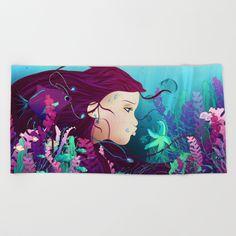Underwater life Beach Towel #society6 #illustration #digital #art #life #woman#home #decor #gift #fantasy #magical #colors #ocean #fish #water #bubbles