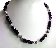 (SKU No.280ct) 280ct Natural Amethyst Designer Beads Necklace Faceted with Silver Beads