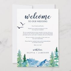 Shop Rocky Mountain Wedding Welcome Letter & Itinerary created by FreshAndYummy. Wedding Welcome Letters, Wedding Welcome Gifts, Destination Wedding Welcome Bag, Destination Wedding Locations, Cruise Wedding, Hawaii Wedding, Diy Wedding, Wedding Bags, Hotel Wedding