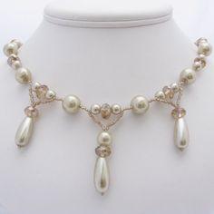 Bridal Necklace Drop Pearl Pendants Beach Wedding Necklace Crystal $73