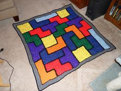 No pattern - simple granny squares made into a Tetris Afghan