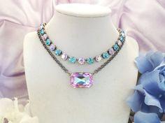 VIOLET DREAMS, pendant, light vittrail, chain, statement octogon, necklace,adjustable,  dksjewelrydesigns