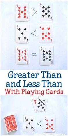 Grab a set off playing cards to practice math with these fun and simple activities to help your child understand greater than and less than. #math #education #BetterThanHomework #mathpracticegames #onlinemathhelp