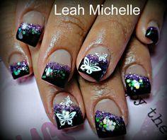 Glitter butterfly nail art