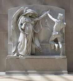 The Angel of Death and the Sculptor from the Milmore Memorial, 1889–93; this carving, 1921–26  Daniel Chester French (American, 1850–1931)  Marble