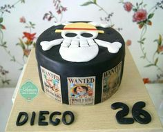 Mugiwara, Straw Hat Pirates, Jolly Roger, wanted posters, cake, One Piece; Anime Food