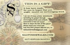"""Gift Tag to use on tags, etc. that are for our Elderly """"Seasoned Salt"""" tags.   Also to use for gifts that are not abandoned leaks, but made purposely for someone. http://www.saltysidewalks.com/#/"""