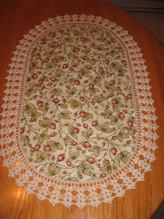 Aunt Roo's Strawberry Splendor fabric table runner w/ by auntroo, $26.00