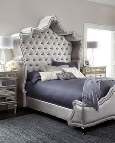 Haute House Antoinette Bed, Exclusively ours.With its shapely shelter-style, tufted headboard echoed in the shape of the footboard, this bed brings regal opulence to bedroom settings.