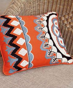 Love this Orange Embroidery Throw Pillow on #zulily! #zulilyfinds