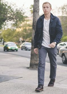 Casual Fall Men's Style - M65, Henley, Gray Denim, Red Wings