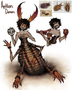 Antlion Demon girl by Matilda-Fiship on DeviantArt Fantasy Character Design, Character Design Inspiration, Character Concept, Character Art, Creature Concept Art, Creature Design, Mythical Creatures Art, Fantasy Creatures, Cartoon Kunst