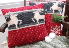 Crafting - Picture tutorial for creating Christmas Sweater Pillows by The Everyday Home