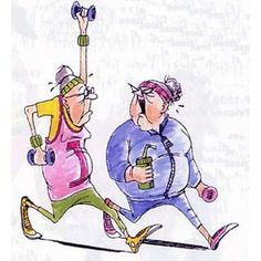 """Two ladies in jogging suits power walking. With saying """"only thing that needs jogging is my mind? Power Walking, Vieux Couples, Comic Manga, Art Impressions Stamps, Funny Cards, Digital Stamps, Funny People, Getting Old, Whimsical"""