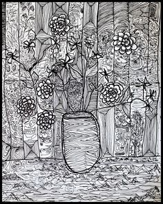 Ink Drawing by C.T. Rasmuss 'A Potter's Vase' (2010).