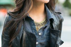 shirt dress + stella and dot statement necklace
