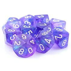 Borealis d10 RPG Role Playing Game Dice Set (Purple)