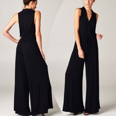 """GORGEOUS, CLASSIC JUMPSUIT Beautifully simple, very sexy, extremely comfortable. You can't beat that combination. Polyester knit/surplice palazzo jumpsuit, in black.                                                                   ♦️small: bust 36""""  ♦️medium: bust 38""""                                                   ♦️large: bust 40""""   ♦️inseam: 29.5""""                  bPLEASE DO NOT BUY THIS LISTING, I will personalize one for you. tla2 Pants Jumpsuits & Rompers"""