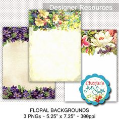 Vintage Flowers Watercolor Style Digital Backgrounds  PNG