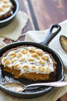 Mini Sweet Potato Tarts with Gingersnap Pecan Crust and Toasted Marshmallows