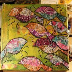 Aromaattista arkea askarrellen : AskarteluPirtin antia:Kauniiden lintujen kateellin...Mixedmedia canvas (paint, inks, gelliprints, doodling...)