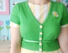 scathingly-brilliant   daisies on green cardi--perfect