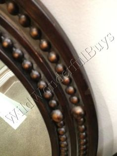 Oval-Rivet-WALL-MIRROR-Antique-Bronze-Neiman-Marcus-Tuscan-Style-Horchow-New