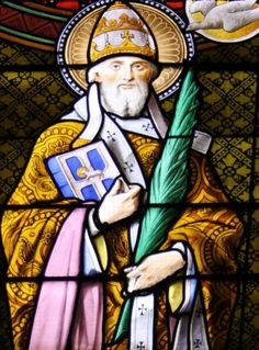 detail of a stained glass window of Pope Saint Fabian; artist unknown, date unknown; choir loft, church of Saint-Gratien, Haussaire, Val-d'Oise, Île-de-France, France; photographed on 6 August 2012 by GFreihalter; swiped from Wikimedia Commons; click for source image