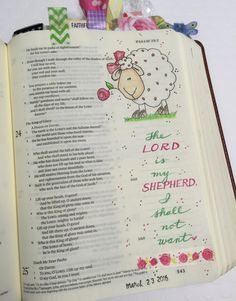 Bible art journaling by Lynda Neal - Psalm 23 - #IllustratedFaith {sheep traced from a Google image}