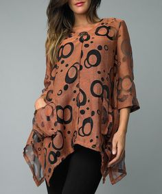 Take a look at this Clay Circle Single-Button Cardigan by Kaktus on #zulily today!
