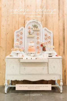 Add a donut + dessert wall to your vintage credenza to emphasize your beautiful cake display. Find vintage furniture rentals at Orange Trunk Vintage Rentals in Calgary, Alberta. Image by Kristi Sneddon Photography. Vintage Furniture, Furniture Decor, White Credenza, Church Events, Small Sofa, Sweetheart Table, Orange, Calgary, Wedding Vendors
