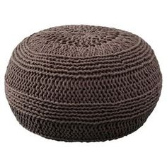 Cable-knit cotton pouf.  Product: PoufConstruction Material: 100% Roped cottonColor: MochaFeatures:  Casual styleWill enhance any setting Dimensions: 14 H x 20 Diameter