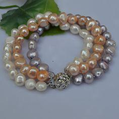 Handmade Pearl Jewelry 3 Rows Baroque Freshwater Pearl Bracelet White Pink Lavender Multicolor Fashion Lady's Bracelet www.bernysjewels.com #bernysjewels #jewels #jewelry #nice #bags