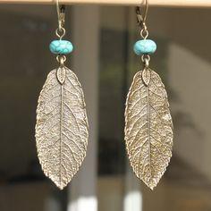 Boho Earrings Brass Turquoise Earrings Leaf by NtikArtJewelry