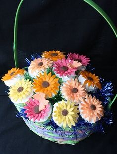 Gerber Daisy Cupcake Bouquet - Cupcake Novelties - Gourmet Cupcakes, Cake Pops, Cookies & Cakes, Edible Cupcake Arrangements, Cupcake Bouquets, Cupcake Gifts & Edible Image Cupcakes for all occasions!