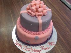pretty girl birthday cake, purple and pink