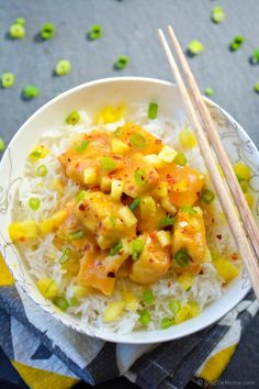Pineapple Glazed Sweet and Sour Tofu and Rice Bowl Vegan Lunch