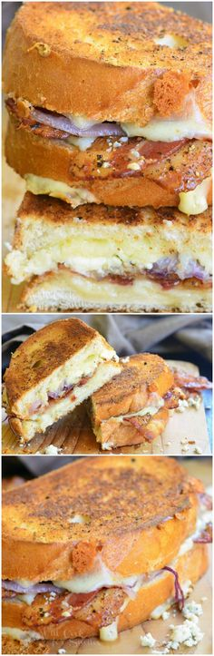 Peppered Bacon and Blue Grilled Cheese. AMAZING grilled cheese that's packed with favorite flavors! #sandwich (Blue Cheese Sandwich)