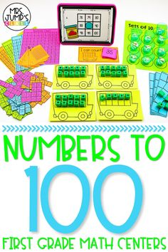These kindergarten and first grade math centers will help your students master numbers to 100. Students can do a variety of hands on math activities to practice counting and number recognition to 100.