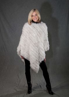 This Beautiful Winter White #Fur #Cape #Cover-Up is Asymmetric and was restyled from an old fur coat. Makes a great addition to any wardrobe!