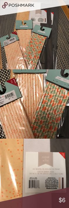 New in Package Party Supplies New in package party supplies - Orange/Peach Theme Comes with: 2 packages of tissue paper with 25 white sheets, 15 dark brown sheets and 10 light orange sheets with darker orange speckled polka dots. Perfect for gifts or gift bags. 2 matching packages Peach/Orange speckled paper straws and 1 package of paper straws with a peach base, but roses and vines as the design. Each package comes with 10 straws. Perfect for themed parties, bridal showers, neutral baby…