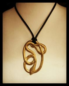 Handmade silver pendant (snake) gold plated