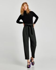 ZARA - WOMAN - CONTRASTING STRIPED TROUSERS
