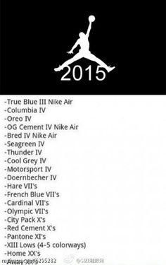 Air Jordan Release List for 2015
