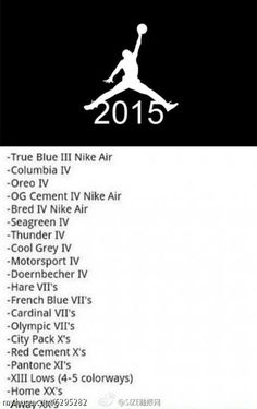 Air Jordan Release List for 2015