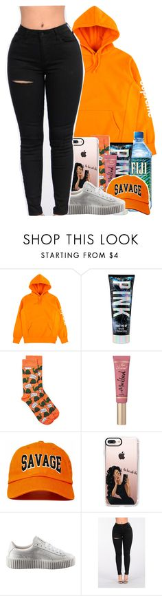 """Savage"" by melanin-avii ❤ liked on Polyvore featuring Topman, Too Faced Cosmetics, Casetify and Puma"