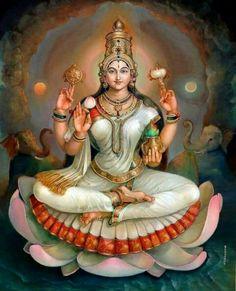 "☀ SHRI LAKSHMI DEVI ॐ ☀ ""I offer my obeisances unto the lotus-born mother of all beings, unto Sri the Goddess of fortune, having full-blown lotus-like eyes, and reposing in the bosom of Vishnu. Saraswati Goddess, Indian Goddess, Goddess Lakshmi, Lord Saraswati, Shiva Art, Shiva Shakti, Hindu Art, Mysore Painting, Tanjore Painting"